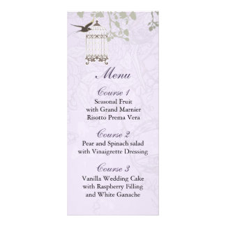 floral purple bird cage, love birds Menu Cards Rack Card Template