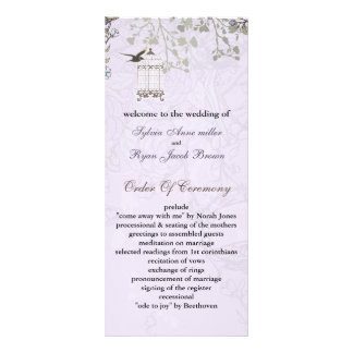 floral purple birds cage, birds wedding programs personalized rack card