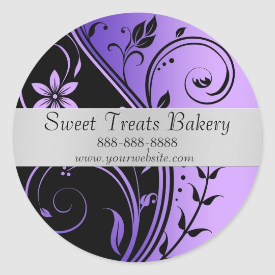 Floral Purple Cupcake Baking Label Sticker