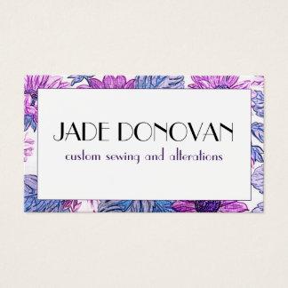 Floral Purple Daisies Flower Faux Textile Fabric Business Card