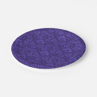 Floral purple decoration paper plate