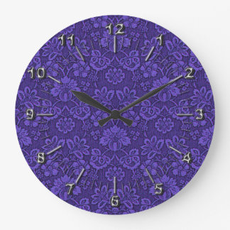 Floral purple decoration wallclock