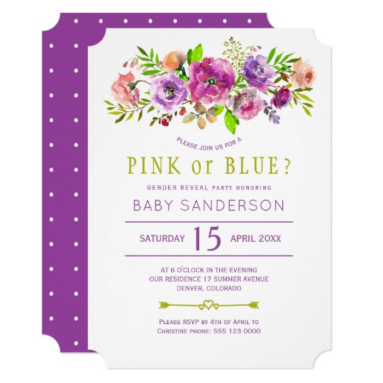 Floral purple green baby gender reveal party card
