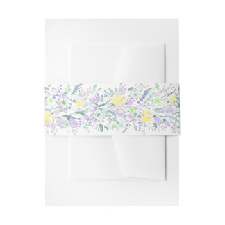 Floral Purple Lavender And Yellow Flower Wedding Invitation Belly Band