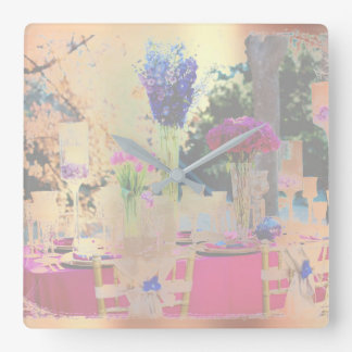 Floral Purple Pearly Garden  Blush Pink Rose Gold Square Wall Clock