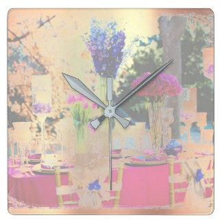 Floral Purple Pearly Garden  Blush Pink Rose Gold Wallclocks