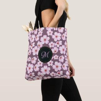 Floral purple retro pattern. Monogram. Tote Bag