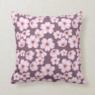 Floral purple retro pattern. throw pillow