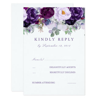 Floral Purple RSVP Card