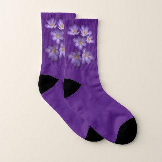 Floral Purple Spring Crocus Flowers Socks 1