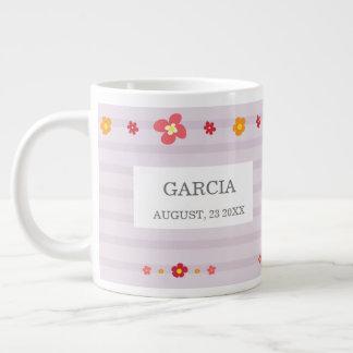 Floral Purple Stripes Bridal Shower Large Coffee Mug