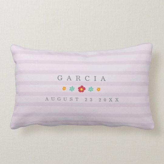 Floral Purple Stripes Pillow