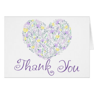Floral Purple Thank You Heart & Lavender  Flowers Card