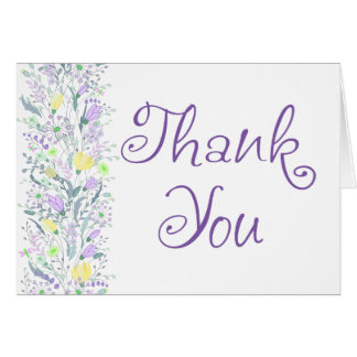 Floral Purple Thank You Lavender & Yellow Flowers Card