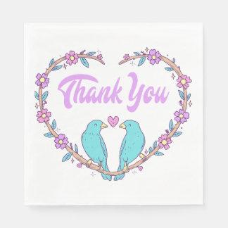 Floral Purple Thank You Lovebirds & Heart Wedding Paper Napkin