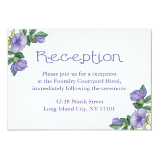 Floral Purple Watercolor Flower Reception Card