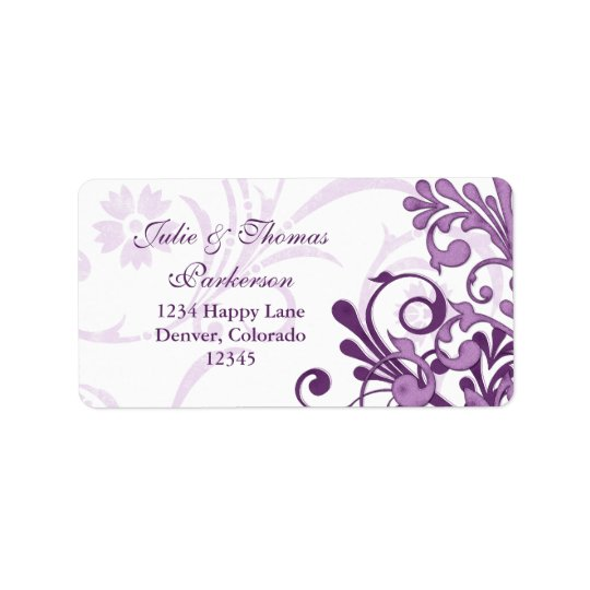 Floral Purple Wedding Return Address Label