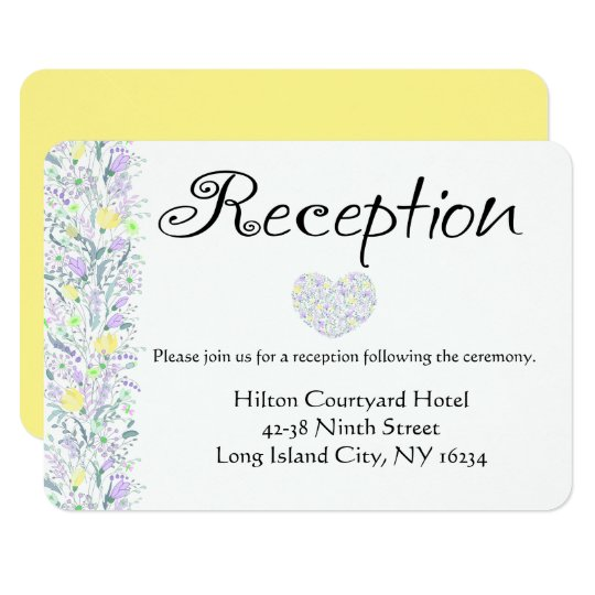 Floral Purple Yellow Wedding Reception Flowers Card