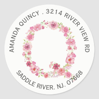 Floral Q Initial Monogram Return Address Sticker