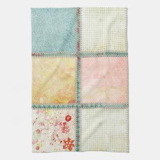 Floral Quilt Squares Square Hand Towel