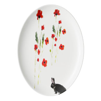 Floral Rabbit Art, Red Poppy Porcelain Serving Platter