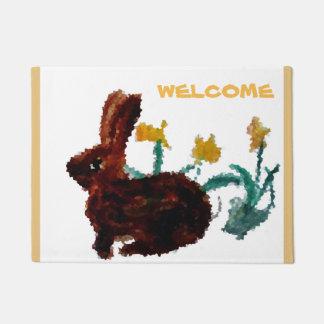 Floral Rabbit Art Welcome Doormat