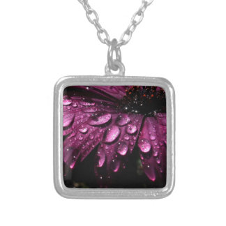 floral rain drops art design silver plated necklace