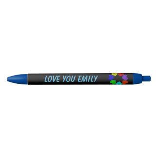 Floral Rainbow Love Hearts Custom Pen