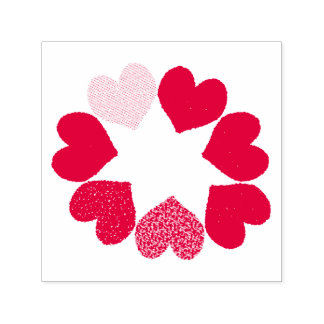 Floral Rainbow Love Hearts Self Inking Stamp