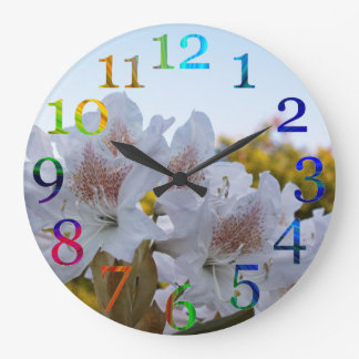Floral rainbow numbers large clock