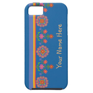 Floral Rangoli Border on Blue iPhone 5/5s Case