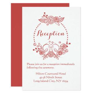 Floral Reception Burgundy Lovebirds Wedding Wreath Card