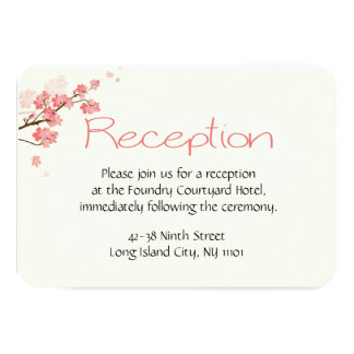 Floral Reception Cherry Blossoms Pink Wedding Card