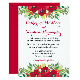 Floral Red Burgundy Watercolor Flowers Wedding Card