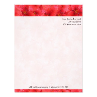 Floral Red Garden Lilies Botanical Custom Address Personalized Letterhead