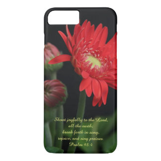 Floral, Red Gerbera Daisy w Psalm Verse iPhone 7 Plus Case