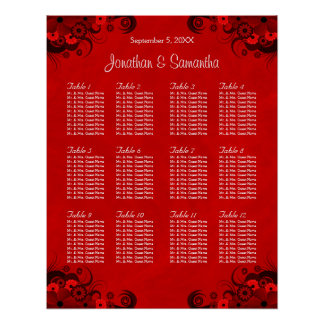 Floral Red Gothic 12 Wedding Tables Seating Charts Poster