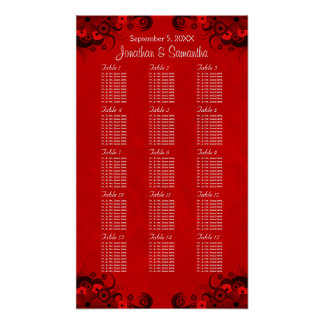 Floral Red Gothic 15 Wedding Tables Seating Charts Poster