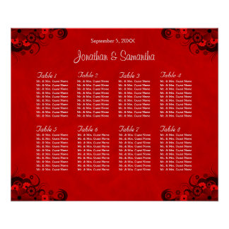 Floral Red Gothic 8 Wedding Tables Seating Charts Poster