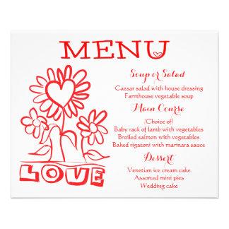 Floral Red Menu Love Flowers & Hearts Wedding
