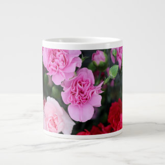 Floral, Red & Pink Carnations Large Coffee Mug