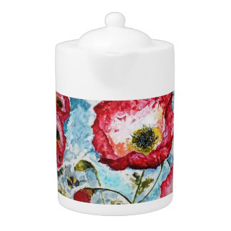 Floral Red Poppies Watercolor Design Teapot