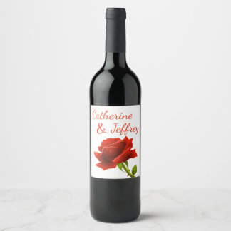 Floral Red Rose Flower Personalized Wedding Party Wine Label