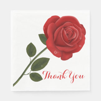 Floral Red Rose Flower Thank You Wedding Party Paper Napkins