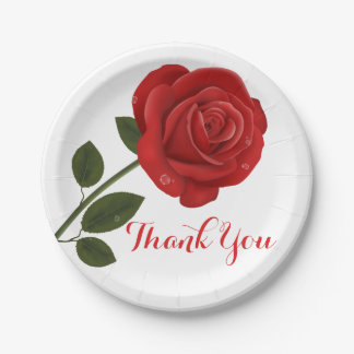 Floral Red Rose Flower Thank you - Wedding Party Paper Plate