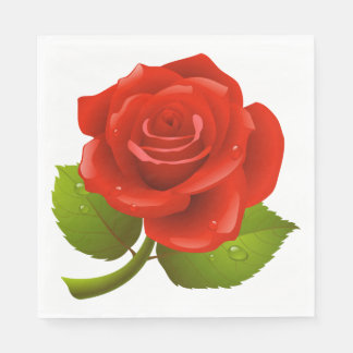 Floral Red Rose Flower Wedding / Party Napkin