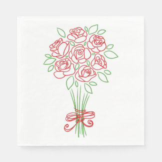 Floral Red Rose Flowers Wedding / Party Napkin