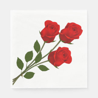 Floral Red Rose Flowers Wedding / Party Paper Napkin
