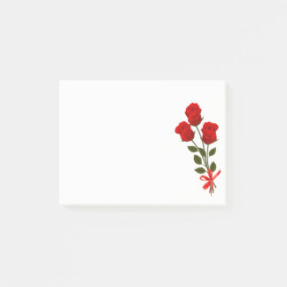 Floral Red Roses Flower - Love Flowers Botanical Post-it Notes