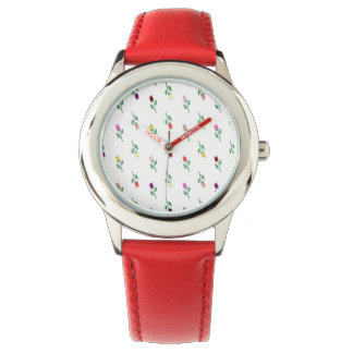 Floral Red Trendy Elegant Young Lady Charming Watch